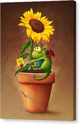 Sunflower And Dragon Canvas Print by Tooshtoosh
