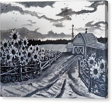 Sunflower Farm Canvas Print by Kevin F Heuman