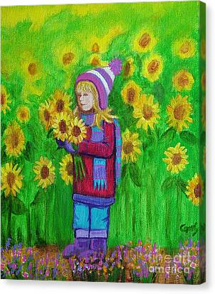 Sunflower Girl Canvas Print by Nick Gustafson