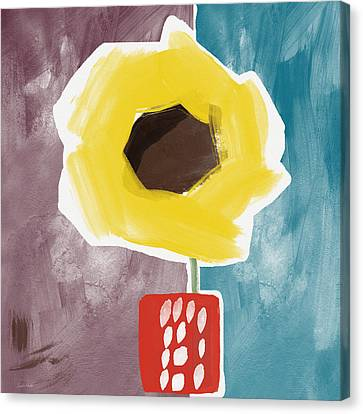 Sunflower In A Small Vase- Art By Linda Woods Canvas Print by Linda Woods