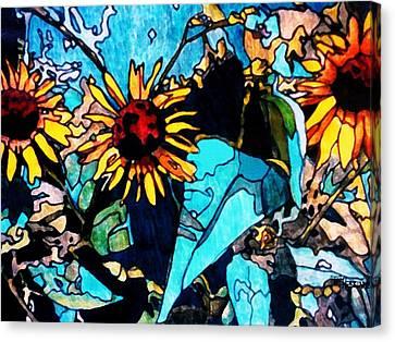 Sunflowers Blue Canvas Print by Tom Herrin