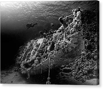 Sunken Yacht Of Abu Galawa Canvas Print by Henry Jager