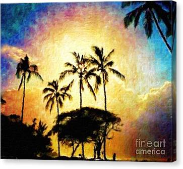 Sunlight In The Palm Trees Canvas Print by Jerome Stumphauzer