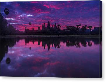 Sunrise Angkor Wat Reflection Canvas Print by Mike Reid
