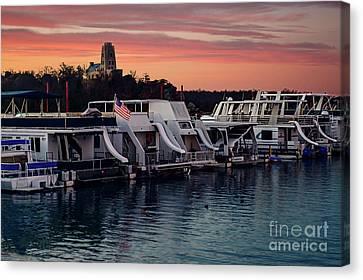 Lake Murray Sunrise At The Marina Canvas Print by Tamyra Ayles