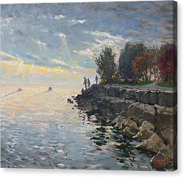Sunrise Fishing Canvas Print by Ylli Haruni