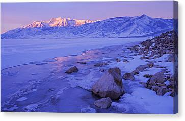 Sunrise Ice Reflection Canvas Print by Chad Dutson
