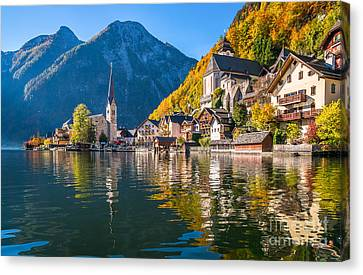 Sunrise In Hallstatt Mountain Village With Colorful Autumn Landscape Canvas Print by JR Photography