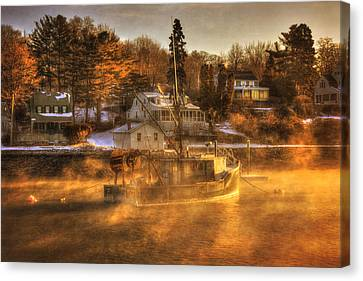 Sunrise On Fishing Boat - York Harbor, Maine Canvas Print by Joann Vitali