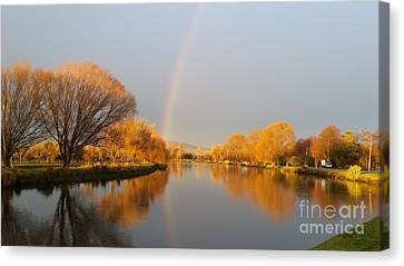 Sunrise On The Avon River  Canvas Print by Joyce Woodhouse