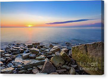 Sunrise On The Rocks Canvas Print by Andrew Slater