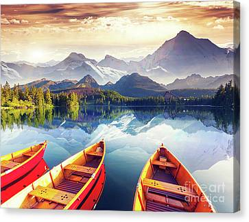 Sunrise Over Australian Lake Canvas Print by Thomas Jones