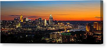 Sunrise Over Cincinnati Canvas Print by Keith Allen