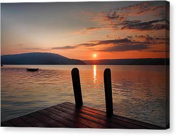 Sunrise Over Keuka IIi Canvas Print by Steven Ainsworth