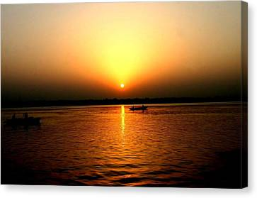 Sunrise Over The Ganges Canvas Print by Tony Brown