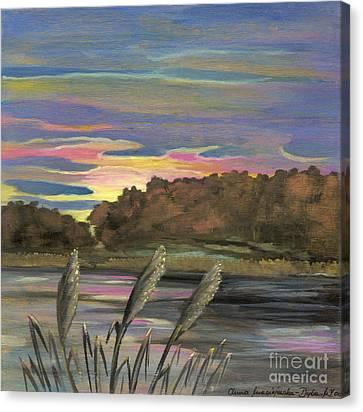 Sunrise Over The Ponds Canvas Print by Anna Folkartanna Maciejewska-Dyba