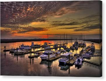 Sunrise Over Tybee Bull River Marina Canvas Print by Reid Callaway