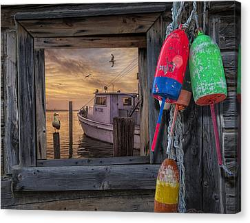 Sunrise Photograph Of Boat With Gulls And Fishing Bouys Canvas Print by Randall Nyhof