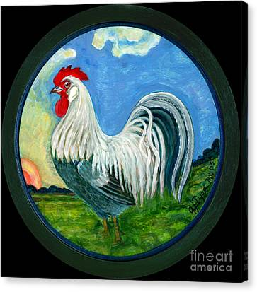 Sunrise Rooster Canvas Print by Anna Folkartanna Maciejewska-Dyba
