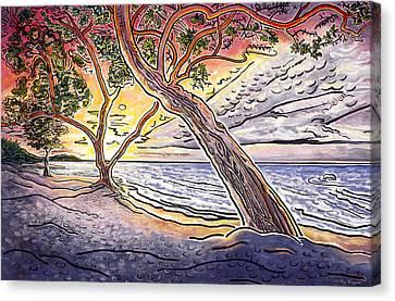 Sunset At Anaehoomalu Bay Canvas Print by Fay Biegun - Printscapes