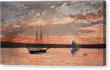 Sunset At Gloucester Canvas Print by Winslow Homer