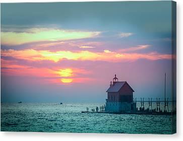 Sunset At Grand Haven, Mi Canvas Print by Art Spectrum