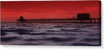 Sunset At Naples Pier Canvas Print by Melanie Viola