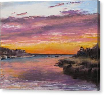 Sunset At Sesuit Harbor Canvas Print by Jack Skinner