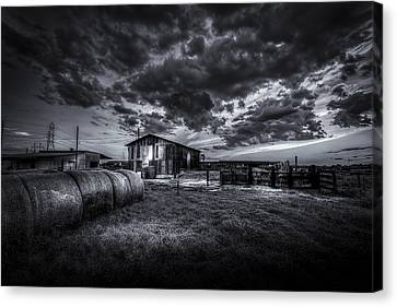 Sunset At The Dairy - Bw Canvas Print by Marvin Spates