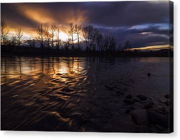 Sunset Drama Over Boise River In Boise Idaho Canvas Print by Vishwanath Bhat