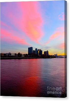 Sunset East River New York Canvas Print by Ken Lerner