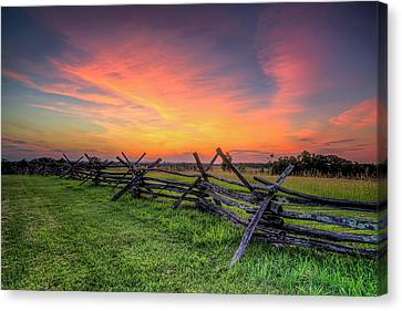 Sunset Fence Canvas Print by Ryan Wyckoff