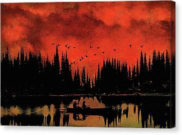 Sunset Flight Of The Ducks Canvas Print by Andrea Kollo
