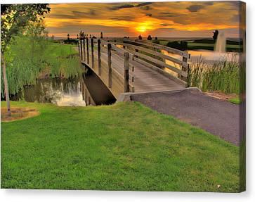 Sunset Foot Bridge Canvas Print by Dale Stillman
