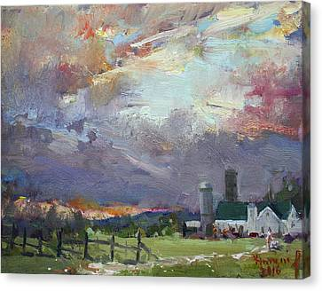 Sunset In A Troubled Weather Canvas Print by Ylli Haruni