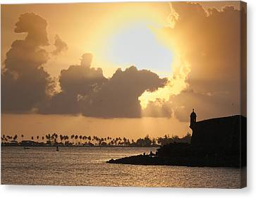 Sunset In San Juan Bay Canvas Print by George Oze