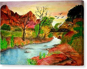 Sunset In Zion Canvas Print by Joanna Aud