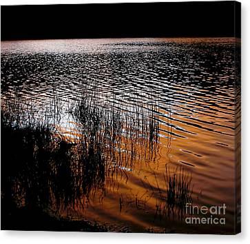 Sunset Lake Canvas Print by Kaye Menner