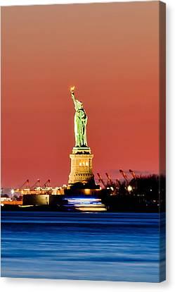 Sunset Liberty Canvas Print by Az Jackson
