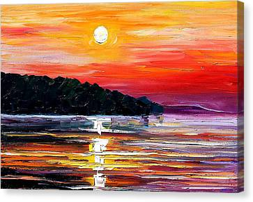 Sunset Melody - Palette Knife Oil Painting On Canvas By Leonid Afremov Canvas Print by Leonid Afremov