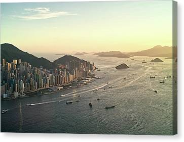 Sunset Of Hong Kong Victoria Harbor Canvas Print by Jimmy LL Tsang