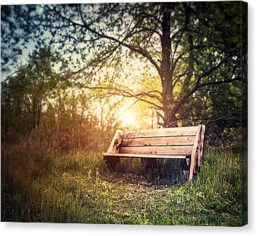Sunset On A Wooden Bench Canvas Print by Scott Norris