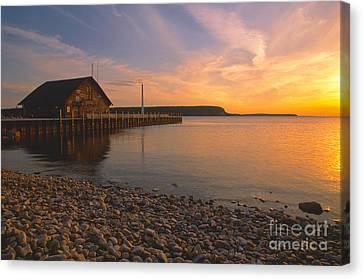 Sunset On Anderson's Dock - Door County Canvas Print by Sandra Bronstein