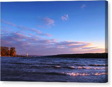 Sunset On Cayuga Lake Ithaca Canvas Print by Paul Ge