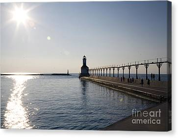 Sunset On Lake Michigan Canvas Print by Jeannie Burleson
