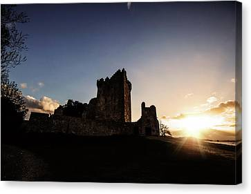 Sunset On Ross Castle Canvas Print by Scott Pellegrin