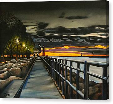 Sunset On The Channel Canvas Print by Janet Guss