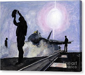 Sunset On The Flight Deck Canvas Print by Sarah Howland-Ludwig