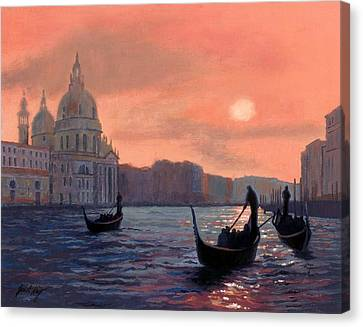 Sunset On The Grand Canal In Venice Canvas Print by Janet King