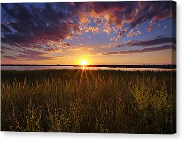 Sunset On The Marsh Canvas Print by Joseph Rossbach